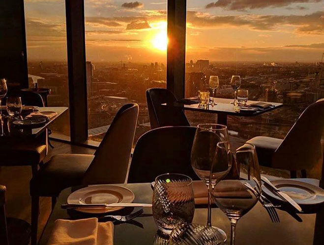 Sunset dining with a view at 20 Stories restaurant in Manchester