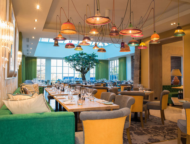 The light and airy dining room at Alderley Edge Hotel with its centrepiece: an indoor tree