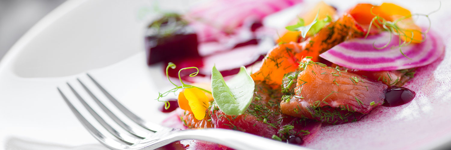 A colourful salmon and beetroot starter served at the Alderley Edge Hotel