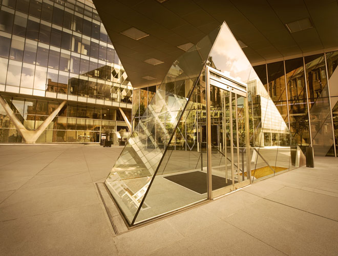 The striking glass pyramid that houses the entrance to Australasia in Manchester city centre