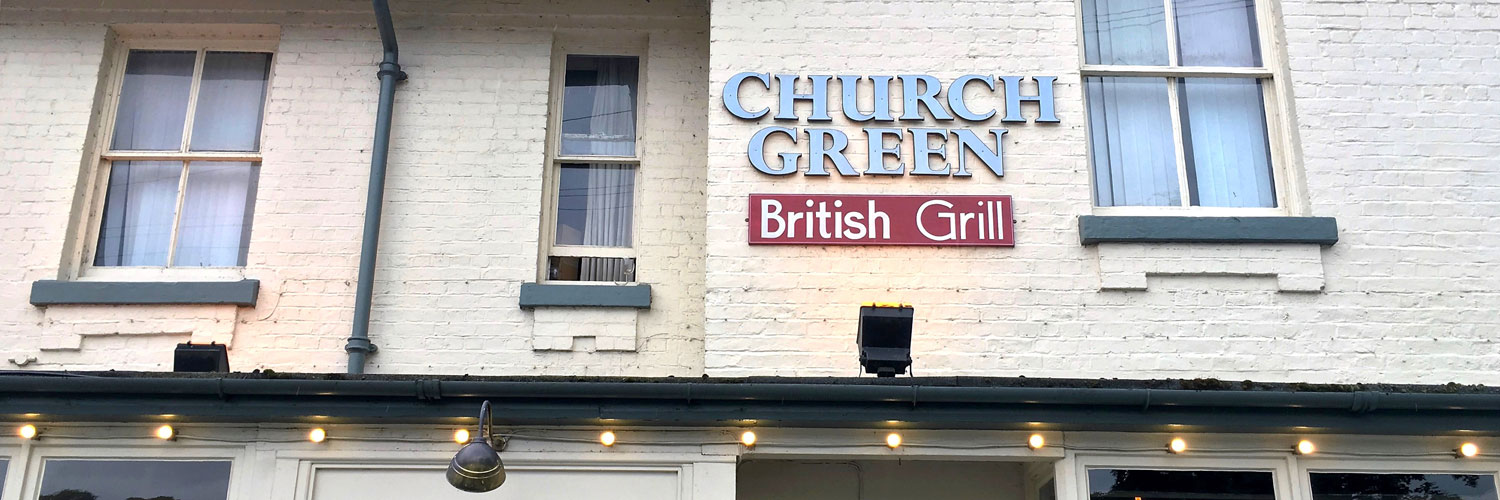 The exterior of The Church Green - Aiden Byrne's family-run gastropub in Lymm, Cheshire