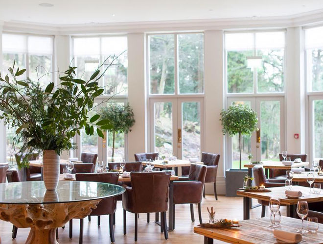 The light and airy dining room at The Forest Side - a Michelin star restaurant in Grasmere, the Lake District