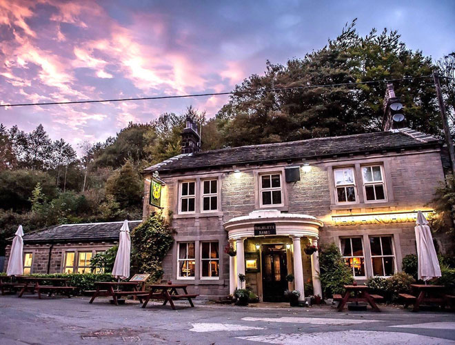 The exterior of The Hinchcliffe Arms - a country pub in Hebden Bridge led by chef Robert Owen Brown