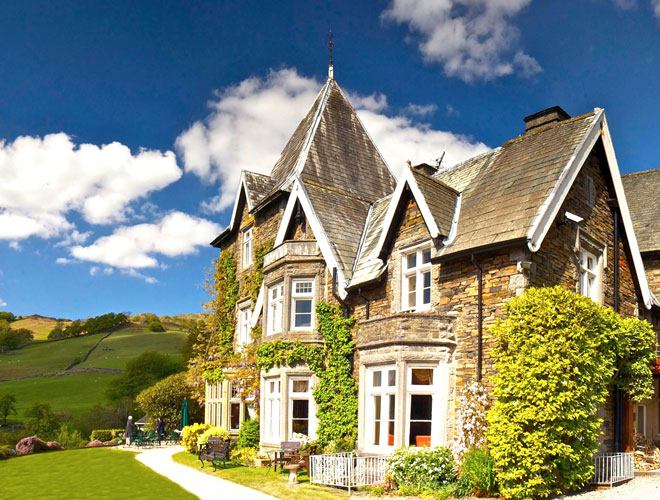 Country house hotel Holbeck Ghyll has stunning views over Windermere in the Lake District.