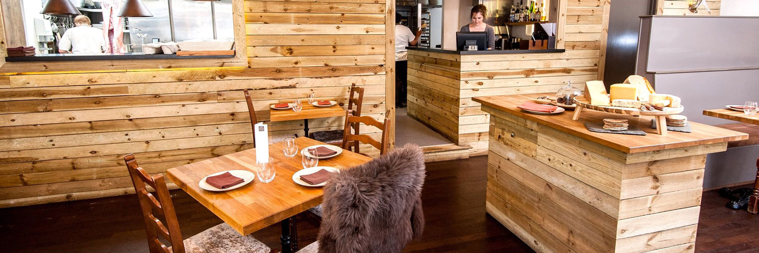 The natural wood interior of Lake Road Kitchen in Ambleside, Cumbria.