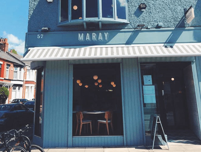 The sun shining on Maray restaurant on Bold Street, Liverpool city centre.
