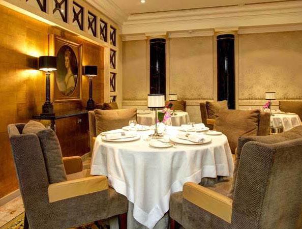 A table set for dinner at Michelin star restaurant, Simon Radley at the Chester Grosvenor