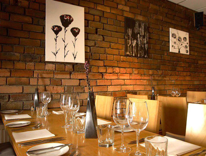 The unpretentious interior of Spire restaurant near Liverpool's Penny Lane.