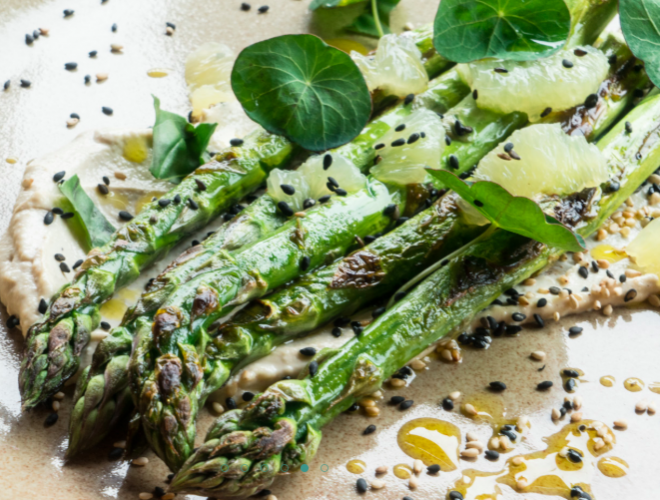 Asparagus as served at The Swine That Dines - an inventive restaurant in Leeds city centre