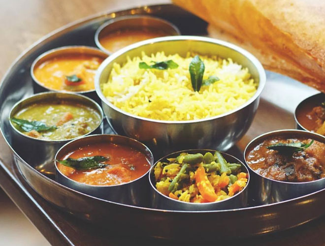 Rice with a range of chutneys at Tharavadu, the popular Indian restaurant in Leeds city centre.