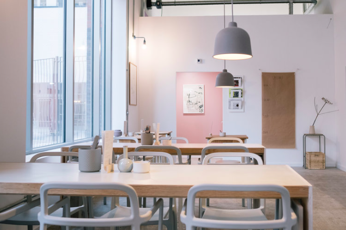 The pastel-hued interior of Trove Manchester - a bakery-cafe that fits in perfectly to the Ancoats food scene