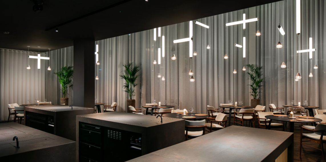 The interior of Manchester's only Michelin star restaurant, Mana in Ancoats.