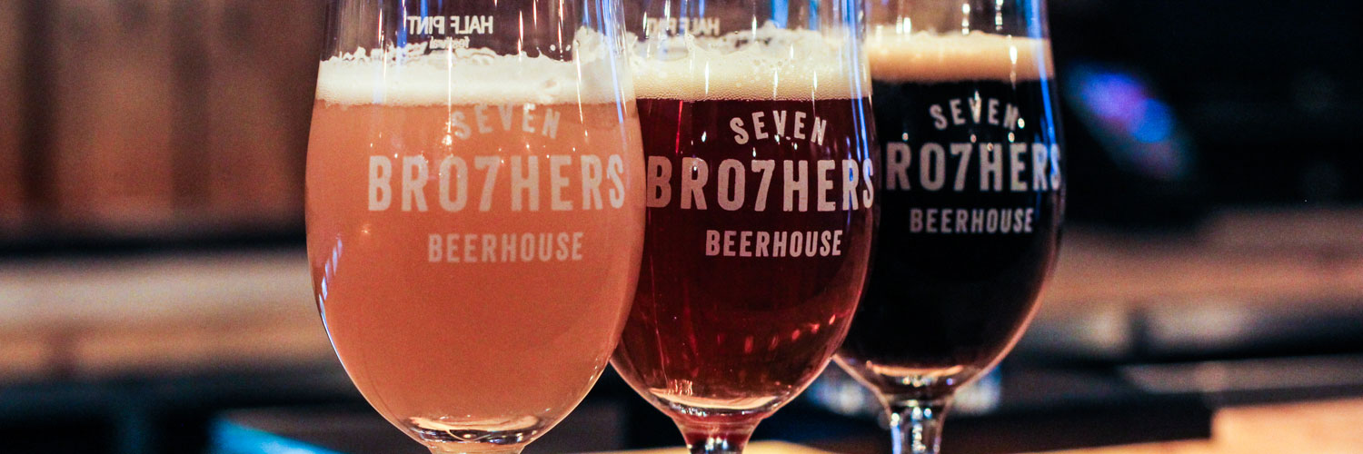 Three glasses of ale from Seven Bro7hers Manchester who run a brewery and several bars in Manchester and Salford.