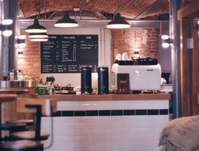 Take a seat inside the cafe at Ancoats Coffee Co in Royal Mills