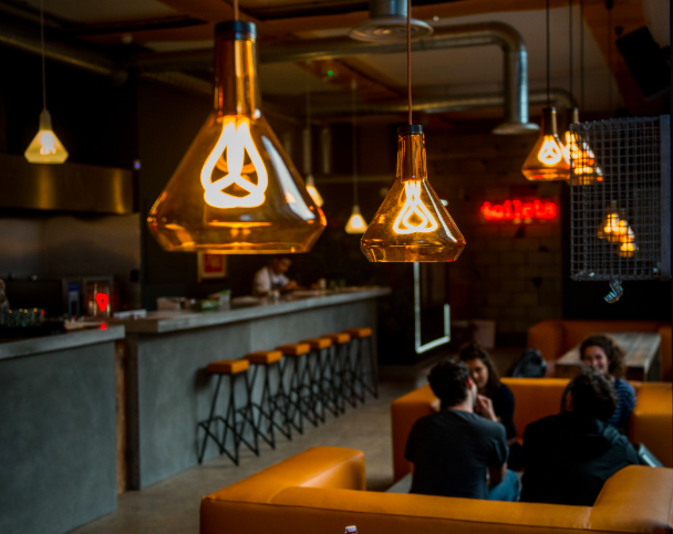 Inside Elnecot, one of the new generation of restaurants in Ancoats, Manchester.
