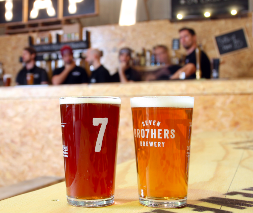 Two pints of craft beer at Seven Bro7hers Manchester, also known as the Ancoats Beerhouse.