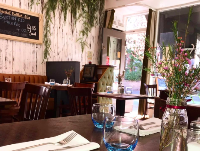 Inside Greens Vegetarian restaurant in West Didsbury, owned by chef Simon Rimmer