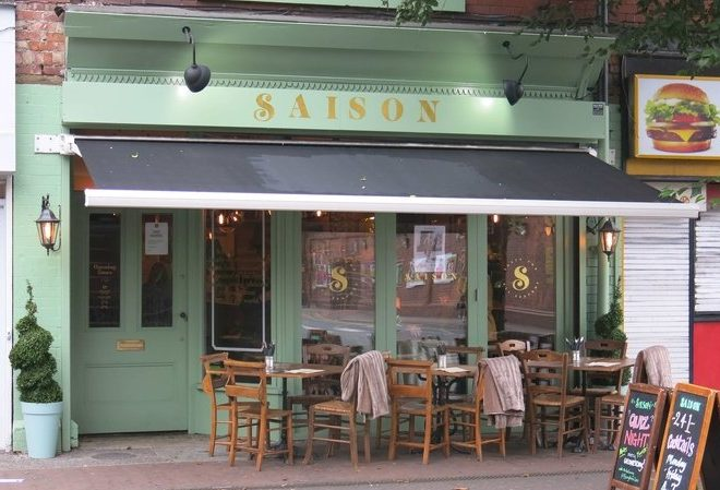 Enjoy an alfresco drink on Saison bar's pavement terrace on Burton Road in West Didsbury