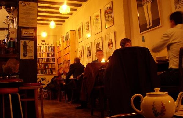 The Art of Tea is a cafe bar which adjoins a secondhand bookshop in Didsbury, Manchester