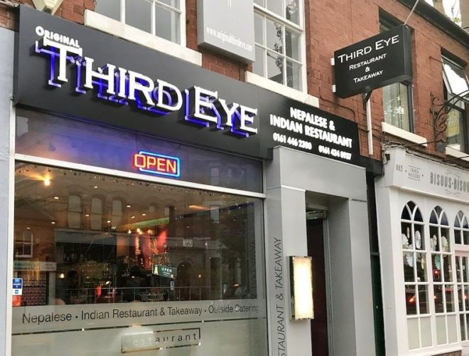 The exterior the The Original Third Eye - a long-standing Indian and Nepalese restaurant in Didsbury