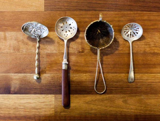 Different styles of tea strainers at Tea Hive cafe in Manchester, Chorlton.