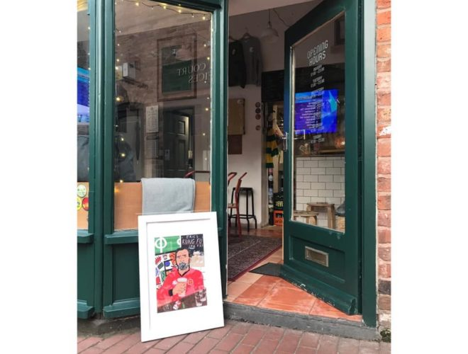 The doorway to Libero in Altrincham - a bar that's big on football and craft ales