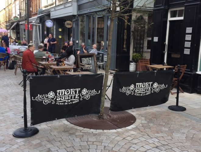 Outside seating at Mort Subite - a Belgian beer bar in Altrincham, Greater Manchester.