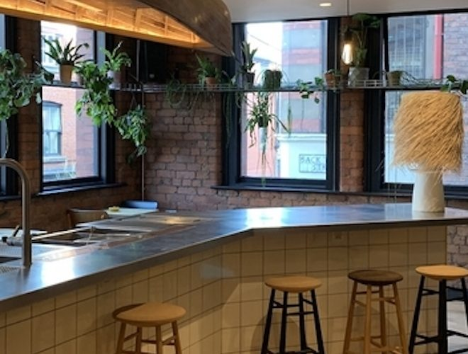 Window seating at Wolf At The Door - a bar serving taco and bao buns in Manchester's NQ