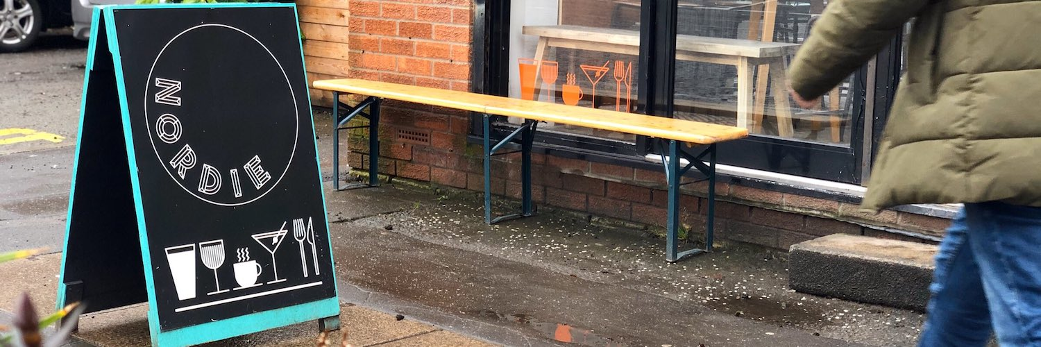Outdoor seating at Nordie Bar in Levenshulme, Manchester.