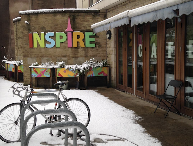 Bicycles outside Inspire Cafe which is part of Levenshulme Inspire, a busy community centre housed in a former church.
