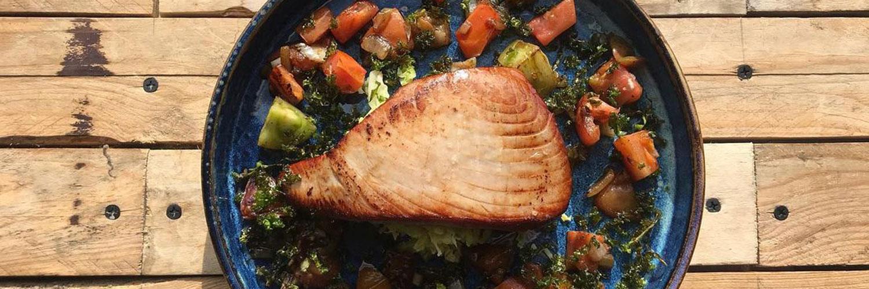 The Fisherman's Table, Marple, Seared Tuna steak, Warm Heritage Tomato Salsa and Crispy Black Cabbage