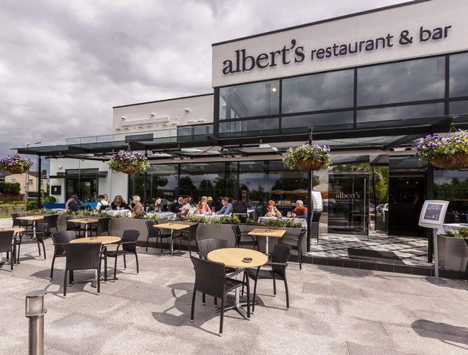 Outdoor seating at Albert's Restaurant Worsley