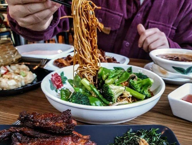 Noodles and vegetables at Blue Eyed Panda Manchester