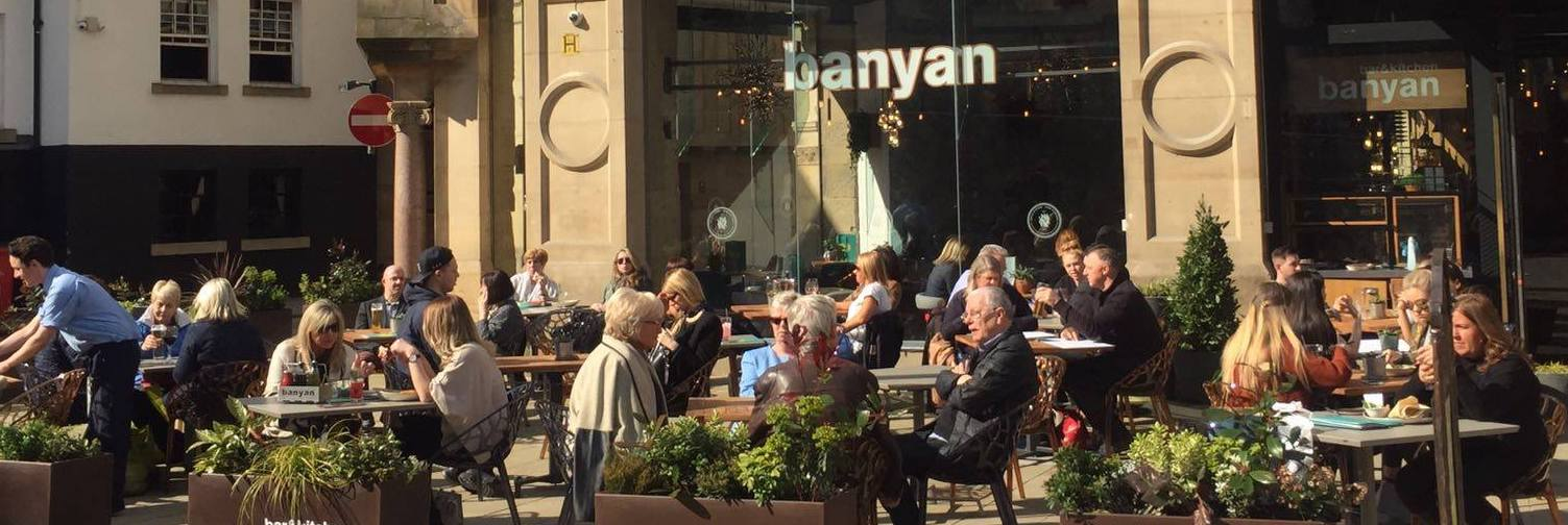 Exterior street view of outside seating at corn exchange manchester