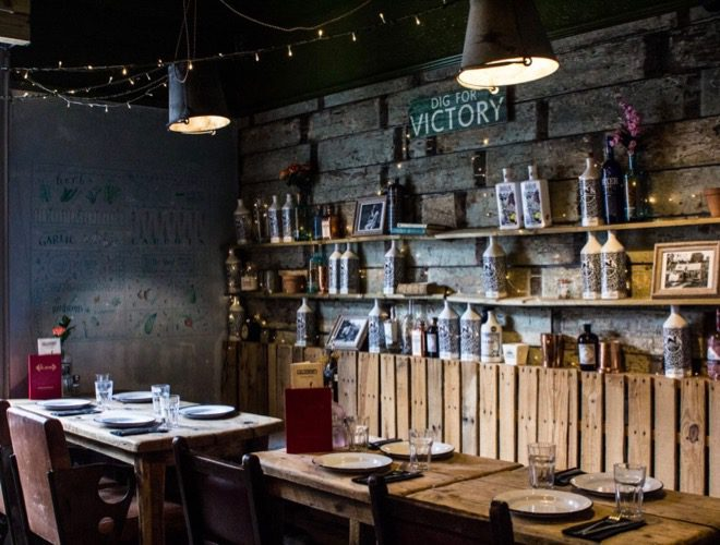 The interior of Allotment, a bar and restaurant in Manchester's Northern Quarter.