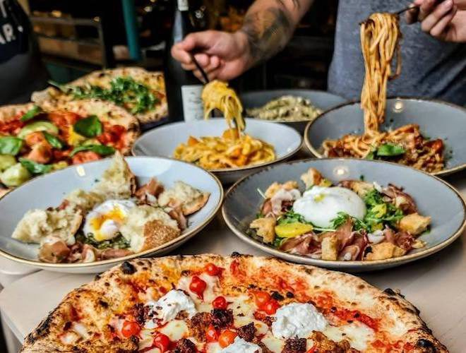 Pasta and pizza from PLY restaurant and bar Manchester