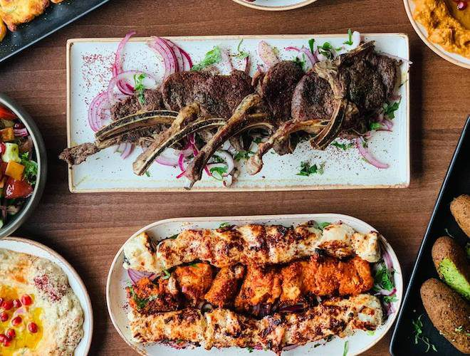 Lamb and chicken dishes at Remal Lebanese Restaurant, Manchester