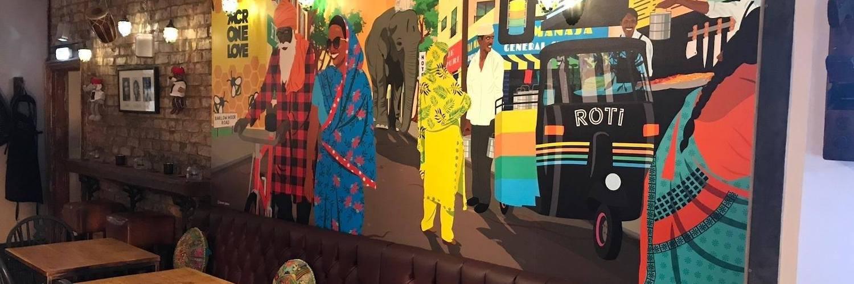 Quirky interior at Roti Indian restaurant in Chorlton, Manchester