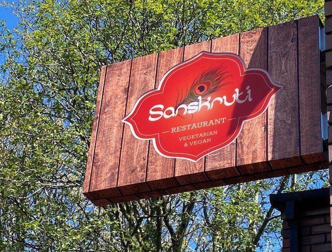 The sign outside Sanskruti Indian Restaurant Withington