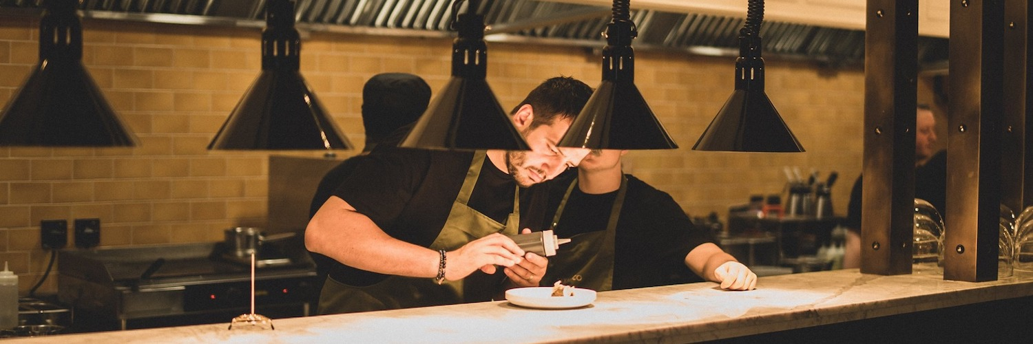 The open kitchen at Six By Nico Restaurant Manchester