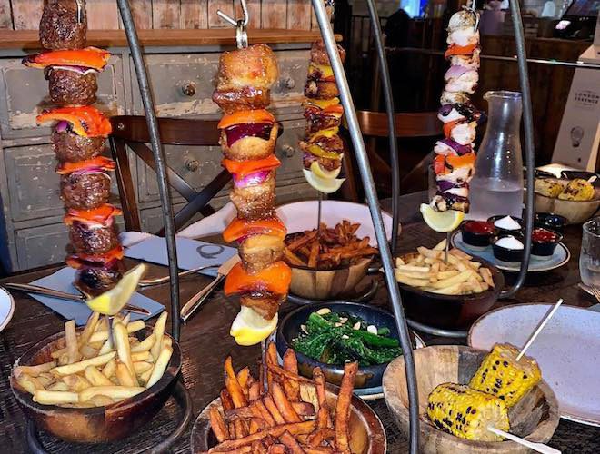 The Famous hanging kebabs at The Oast House, Manchester