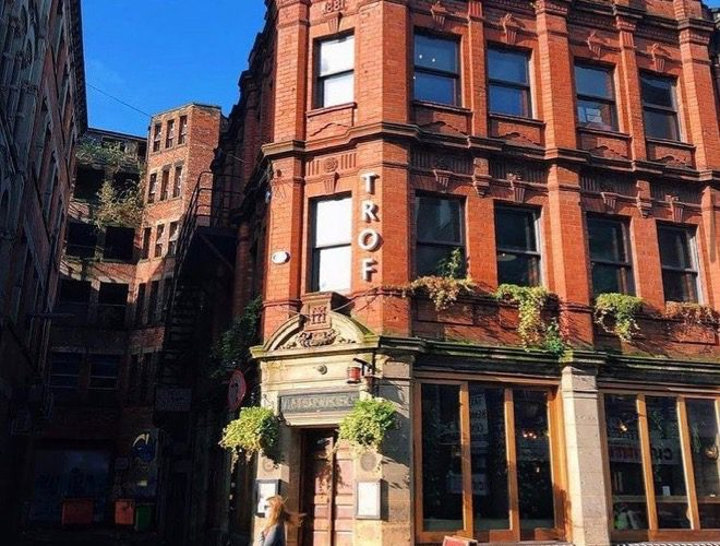 The exterior of Trof, a restaurant and bar in the Northern Quarter.