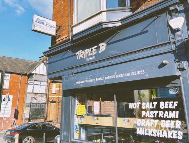 Triple B is a cafe and takeaway serving NYC-style bagels and burgers in Prestwich, Greater Manchester.