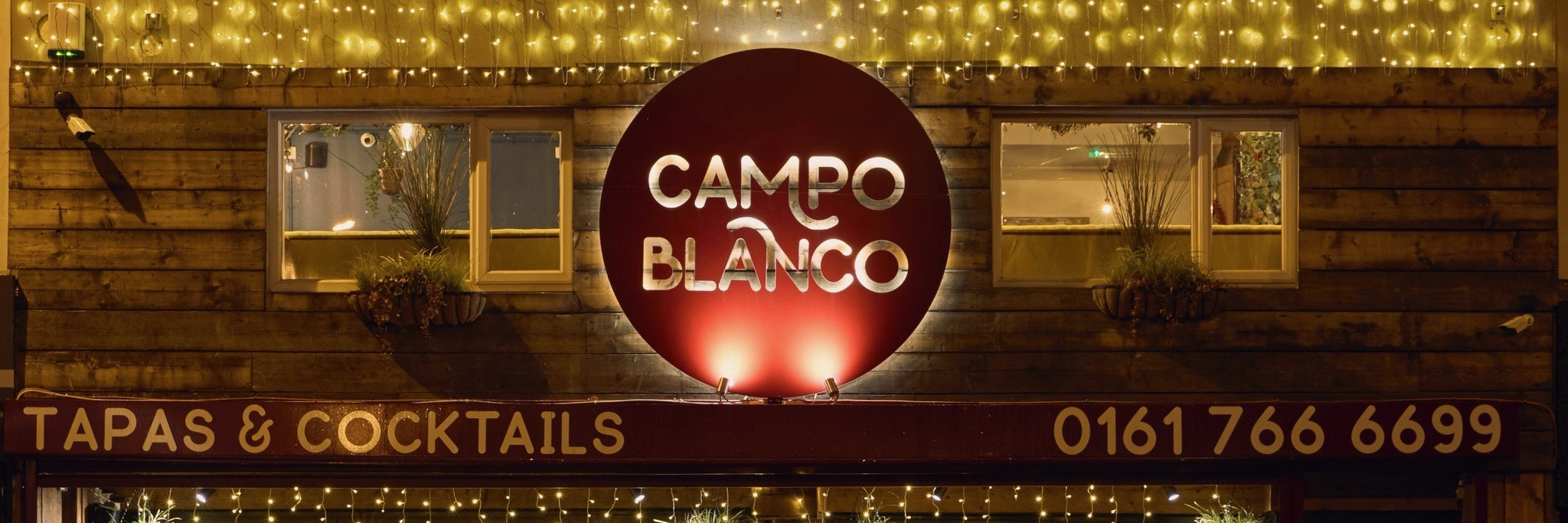 The exterior of Campo Blanco, a tapas bar in Whitefield, Bury, Greater Manchester