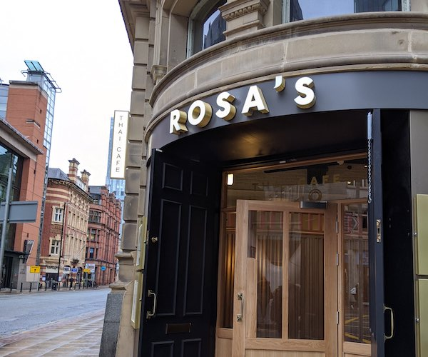 Exterior view of Rosa's Thai Cafe on Deansgate