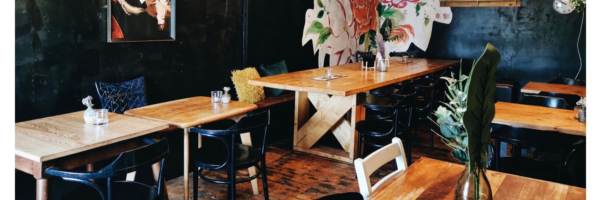 The rustic interior of The Kitchen, a restaurant and bar in West Houghton, Bolton