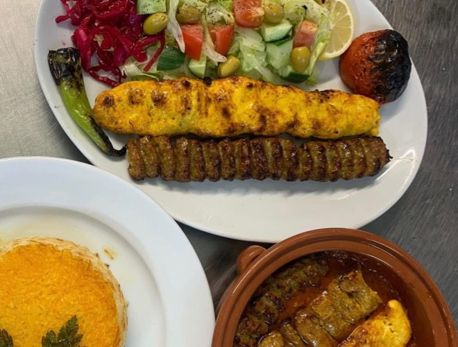 Dishes served at Darbar, an Iranian restaurant in Cheetham Hill, Manchester.