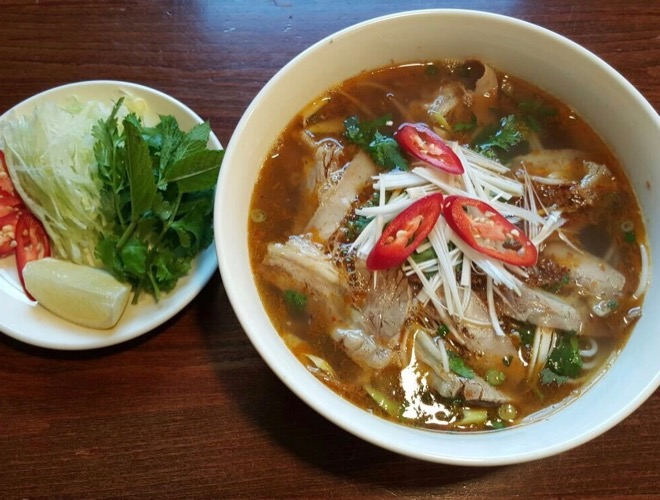 Noodle soup from Mi & Pho, a Vietnamese restaurant in Northenden, Greater Manchester.