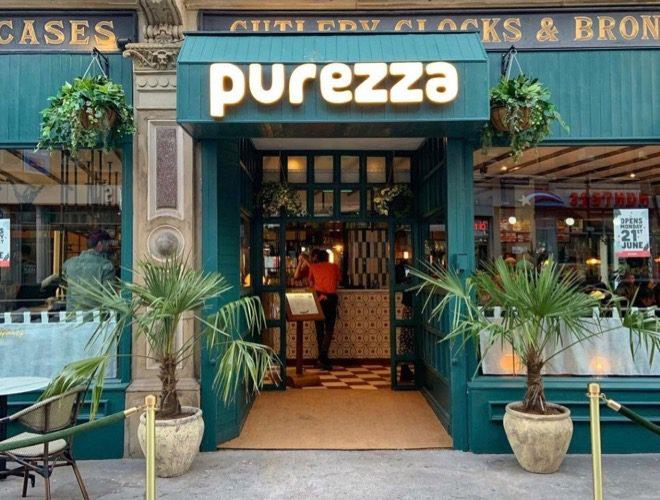 Purezza in Manchester city centre is a vegan pizza restaurant.