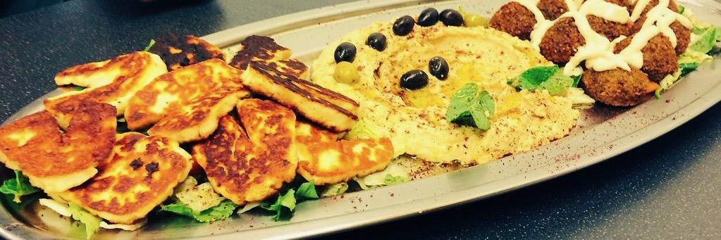 A veggie platter served at the family-run Lebanese restaurant Zaytoon in Chorlton, Manchester.